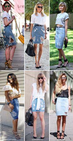 Inspiration: Distressed Denim Skirt