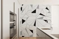 Geometric Wallpaper Black White and Grey Removable by Nicematches