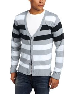 Southpole Men's Striped Long Sleeve Cardigan, Black, X-Large