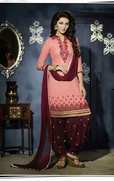 Picture of Excellent Pink Georgette Patiala Salwar Kameez