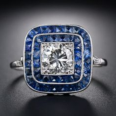 .90 Carat Diamond and Calibre Sapphire Vintage Style Ring - 10-1-3989 - Lang Antiques