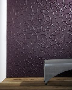 Contemporary Wall Panel Design Feature Curve Line Pattern With Purple Background Feature Wall. Purple Surface Wall Panel By Contemporary Art Trends. Curve Line Wall Panel Pattern. 3d Wandplatten, Panneau Mural 3d, Dark Wooden Floor, Diy 2019, Wall Panel Design, Decorative Wall Panels, Interior Desing, 3d Wall Panels, Purple Walls