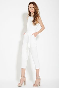 Contemporary Belted Textured-Woven Jumpsuit