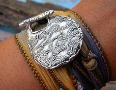 STERLING Silver Unique Jewelry, Unique Jewelry Gift for Women, Silk Ribbon Bracelet, Ocean Waves Jewelry, Cool Sterling Bracelet on Etsy, $49.95
