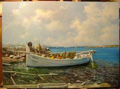 La Barca Blanca;  cuadro pintado al óleo en Arte Gabriela