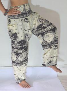 Black cream elephant Yoga pant/Harem by Lannaclothesdesign on Etsy