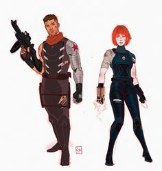 Kevin Wada: Bucky Barnes and Natasha Romanoff redesigns. Just for funsies. Sun's out guns out ey? Marvel Wolverine, Marvel Comics Art, Marvel Avengers, Bucky Y Natasha, Bucky Barnes, Black Widow Winter Soldier, James Barnes, Super Soldier, Superhero Design