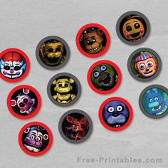 Free Printable Five Nights at Freddy's Cupcake Toppers. Cute and fun Free PDF printable Five Nights at Freddy's cupcake toppers for your upcoming party!!