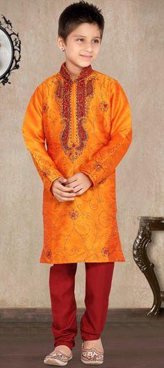 200952 Orange  color family Boy Kurta Pyjama in Art Silk, Raw Dupion Silk fabric with Bugle Beads, Cut Dana, Machine Embroidery, Patch, Resham, Stone, Thread work .