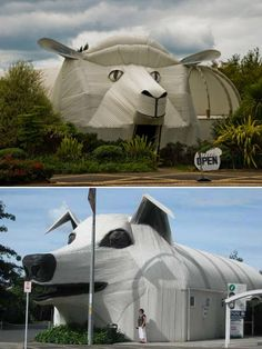 Sheep and sheepdog buildings made out of corrugated iron art, Tirau, New Zealand.