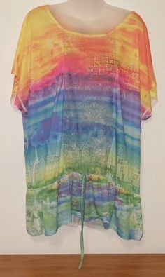 Womens Dots Sz 3X Multi Color Polyester Pullover Shirt Free S/H #dots #Pullover #Casual