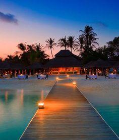 Walking back to towards land at Velassaru Maldives resort