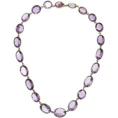 Olivia Collings 1850s 9-karat gold amethyst rivière necklace ($15,060) ❤ liked on Polyvore featuring jewelry, necklaces, bijoux, fine jewelry, purple, amethyst gold necklace, amethyst necklace, gold necklace, fine jewellery and purple necklace