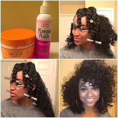 """By @itsmebfairley ・・・ Twist out with perm rods on dry hair! Using #purposekollection Essential oil ❤️ and #cantubeauty Shea butter curling cream"""