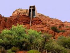 Sedona, Arizona (Chapel of the Holy Cross built directly into the red rock. Designed by Marguerite Staude, a sculpture and student of Frank Lloyd Wright.)