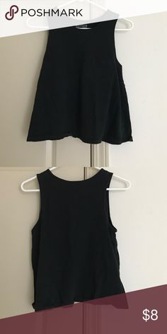 Black tank top Black tank top with thick straps and pocket on the front on left side Tops Tank Tops