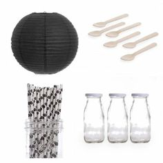 Amazon.com: Dress My Cupcake Lanterns Dessert Table Party Kit, Includes Vintage Glass Milk Bottles with Black Polka Dot Straws: Kitchen & Di...