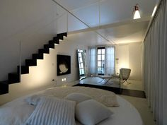 Decoration, Ideas For Decorating A Loft Apartment Round Bed Design In Minimalist Loft: Unique and Modern Loft Design for Small Space Extra Bedroom, Bedroom Loft, Loft Beds, Master Bedroom, Loft Design, Bed Design, Black Staircase, Loft Bed Plans, Round Beds
