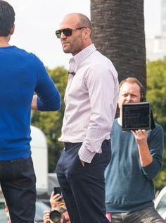 Jason Statham Photos: Celebs Drop by the 'Extra' Set