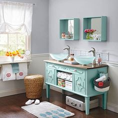 If you have plans to give your bathroom a stunning makeover, you'll love this article on the best ideas for a DIY bathroom vanity. You'll be amazed to see that a dresser or buffet can double as a vanity. Recycling furniture you already have and don't use is a cheap way to update your bathroom counter and cabinets.