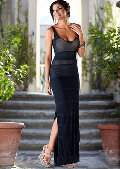 Pointelle maxi dress, multi color wedge in the VENUS Line of Dresses for Women