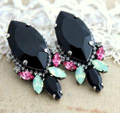 Black Mint Pink  Rhinestone Statement stud earrings - Oxidized Silver plating Swarovski earrings