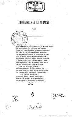 L'Hirondelle et le moineau, fable (par J.-B. Brossard) | Gallica