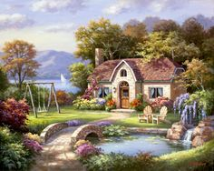 """Stone Bridge Cotttage"" by Sung Kim"