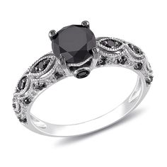 Black Diamond Engagement Ring Set Rose Gold Floral Set 1 Carat Black Diamond Ring with Matching Band for Her - Fine Jewelry Ideas Black Diamond Wedding Rings, Black Diamond Jewelry, Black Diamond Engagement, Antique Wedding Rings, Black Wedding Bands, Gold Rings, Ruby Rings, Ring Set, Ring Verlobung