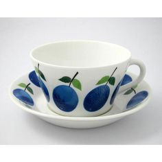 Prunus Tea Cup With Saucer, Cone, Gustavsberg $148