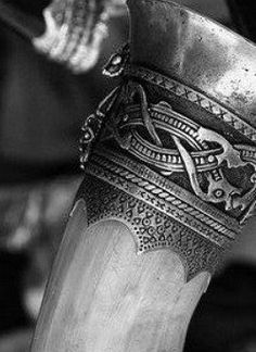 Nicely detailed drinking horn-- #Viking