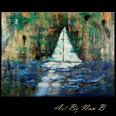 "Oil Painting Abstract Textured ORIGINAL ""SHIPWRECK"" Ocean Sailboat,Sea ArtByNanB #Abstract"
