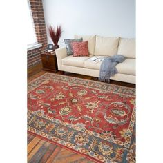 Safavieh Handmade Heritage Traditional Heriz Red Navy Wool Rug 7 6 X 9 By Outlet Area Rugs And Outlets