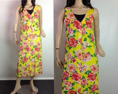 Vintage Jams World floral maxi dress goes from the beach to cocktails. Strikingly gorgeous rose print- simply STUNNING in person  Button front