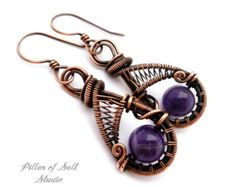 Wire wrapped earrings 636274253584220122 - Wire wrapped earrings / purple Amethyst / wire wrapped jewelry handmade / woven wire jewelry / earthy antiqued copper jewelry Source by nathaliegirois Wire Jewelry Earrings, Copper Wire Jewelry, Wire Jewelry Designs, Copper Earrings, Amethyst Earrings, Jewellery, Earrings Handmade, Homemade Necklaces, Homemade Jewelry