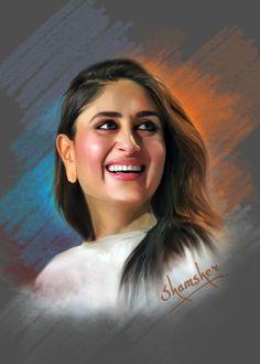 #karinakapoor #bollywood #actress #photoshoppainting Digital Paintings, Digital Art, Katrina Kaif, Hd Images, Bollywood Actress, Portraits, Celebs, Actresses, Model