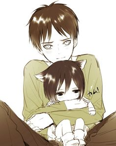 "Eren with neko mikasa eren x mikasa... he has that look like ""can i keep her?"""