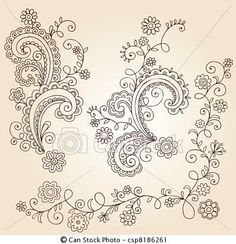 Vector - Henna Flower Vines Doodle Vector - stock illustration, royalty free illustrations, stock clip art icon, stock clipart icons, logo, line art, EPS picture, pictures, graphic, graphics, drawing, drawings, vector image, artwork, EPS vector art