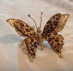 3 Leopard Print Butterfly Christmas Ornaments Beautiful