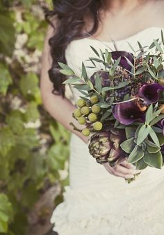 Purple & Green Bridal Bouquet, #olive, #artichoke