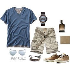 Men's Summer Style by keri-cruz on Polyvore featuring Gap, Abercrombie & Fitch, Ray-Ban, Jack & Jones, GUESS, Jimmy Choo and Hollister Co.