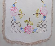 Embroidered Table Runner Vintage Hand Embroidery Pink Blue Green Floral on Ivory Linen Hand Crocheted Ecru Lace Trim x Pink Roses by VintageBabyByKay on Etsy