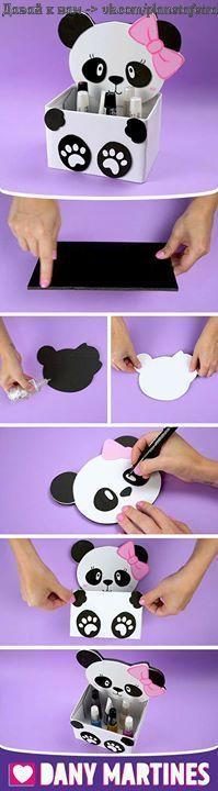 Make yourself a Panda Door Trunk, beautiful, lovely Pandinha, easy to make . Kids Crafts, Diy Arts And Crafts, Diy Kawaii, Diy Karton, Cool Paper Crafts, Panda Birthday, Pot A Crayon, Diy Y Manualidades, Panda Party