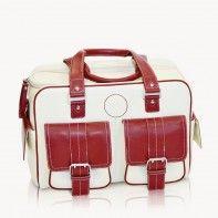 Jill-e Designs medium bone leather camera bag with red leather trim. Birthday present!