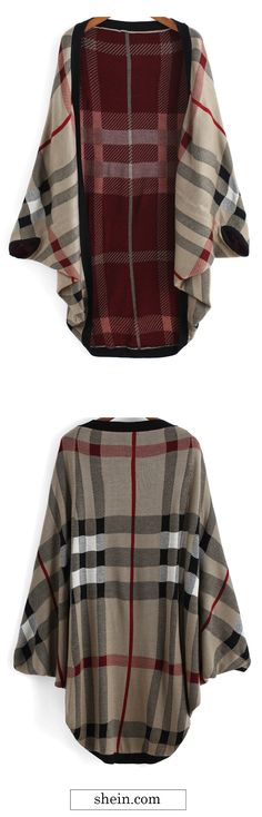 Red khaki batwing sleeve plaid cardiagn. And more cape things from shein.com.
