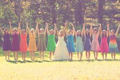 cool wedding idea, having the bridesmaids make a rainbow. i assume the tie dye is maid of honor