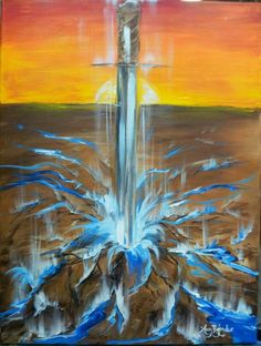 Sword of Spirit breaking fallow hard ground. Prophetic Art painting.