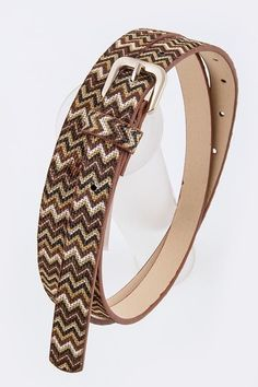 Brown and Chevron Patterned Belt #DiscountedPalace