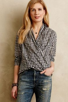 Going to make this instead of pay $276:)  Draped Gingham Buttondown - anthropologie.com
