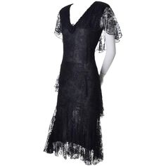 1970s Holly Harp Vintage Black Lace Layered Sparkle Dress 1930s Style 6   From a collection of rare vintage evening dresses and gowns at https://www.1stdibs.com/fashion/clothing/evening-dresses/